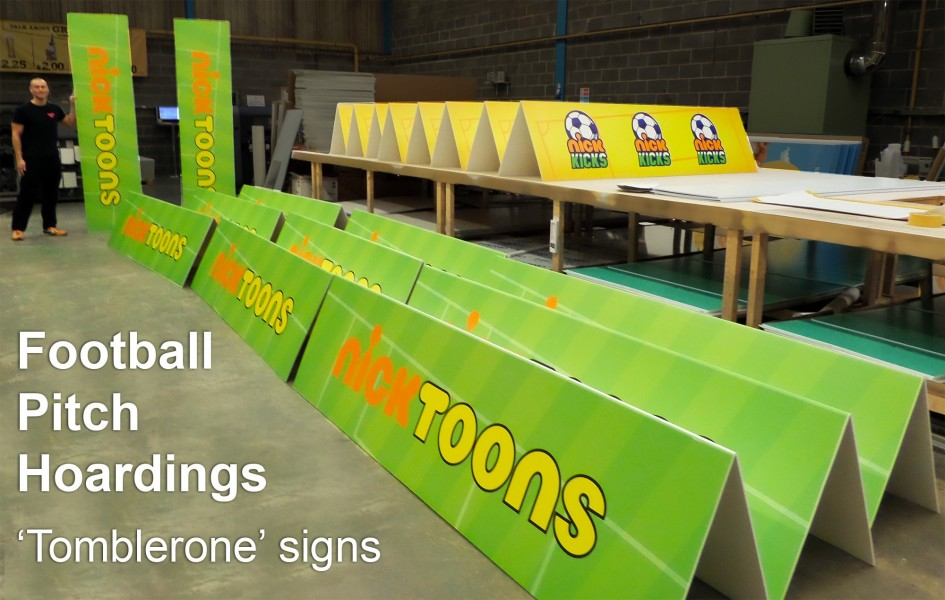 Tomblerone Pitch Signs for BBC Nickelodeon