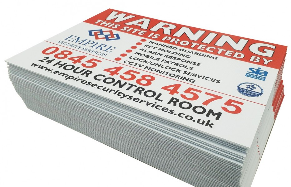 Security Warning boards empire security services
