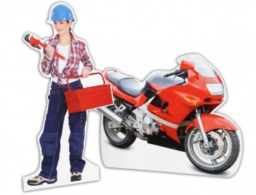 Girl Mechanic Cut out stand Motorbike cardboard cutout stand