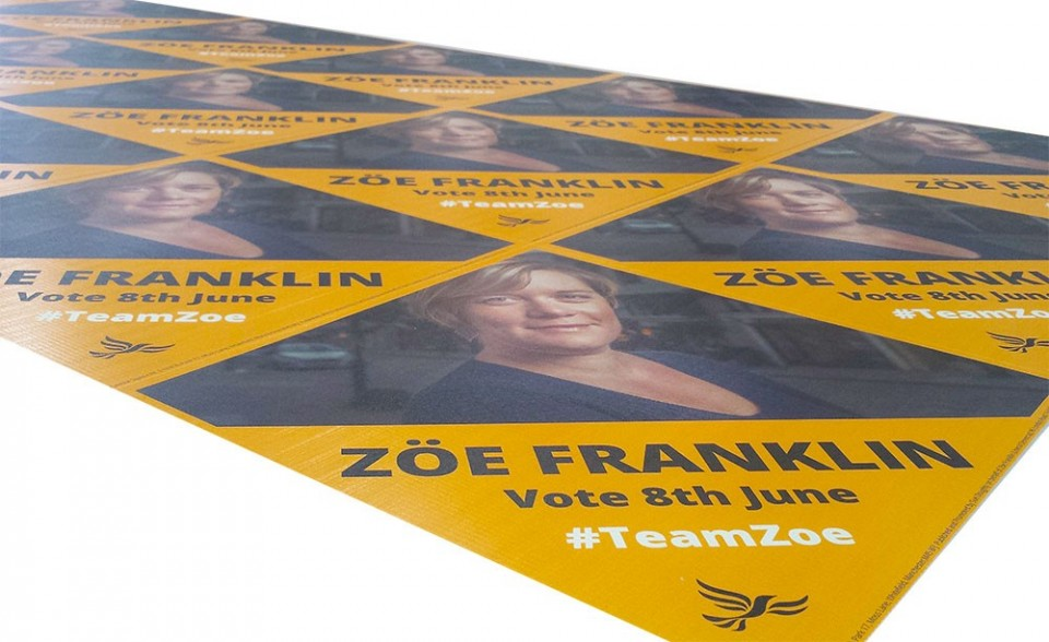 Election signs printed libdems